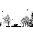 trees and birds vector image vector image