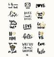 valentine39s day typographic designs vector image vector image