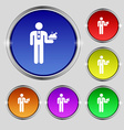 Waiter icon sign Round symbol on bright colourful vector image vector image