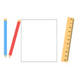 white sheet of paper with a pencil and ruler vector image