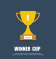 winner cup flat symbol trophy cup icon vector image