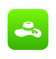 woman hat icon digital green vector image vector image
