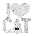 word i love cat for coloring decorative vector image vector image