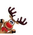 xmas drawing of funny red nosed reindeer vector image vector image