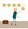 Cartoon businessman with rating stars vector image