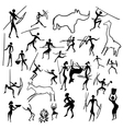 rock paintings with scenes of hunting and life vector image