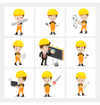 Set of 9 engineer and labor worker in difference vector image