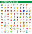 100 festival icons set cartoon style