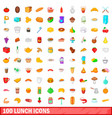 100 lunch icons set cartoon style vector image vector image