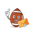 american football character cartoon with envelope vector image vector image