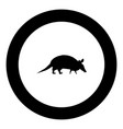 armadillo icon black color in round circle vector image vector image