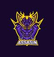 assassin esport gaming mascot logo template for vector image vector image