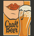 banner for craft beer with glass of beer vector image vector image