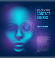 bio-sensing contact lenses in realistic cyber vector image