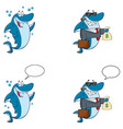 blue shark cartoon character collection set - 9 vector image vector image