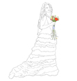 bride with bouquet sketch vector image