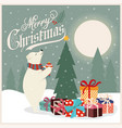 christmas card with polar bear that adorns the vector image vector image