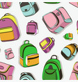 colored teenager school backpacks pattern vector image