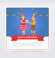 cute boy and girl with gift box kids birthday vector image