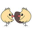 cute little chicks with egg painter easter vector image vector image