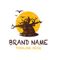 dead tree logo design with a sun background vector image vector image