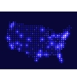 Dotted night map USA vector image vector image