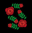 embroidery roses floral leaves pattern fashion on vector image vector image