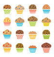 flat icons chocolate and fruit muffins vector image vector image