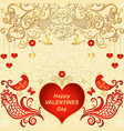 gold valentines frame with red hearts vector image vector image