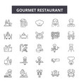 gourmet restaurant line icons signs set vector image