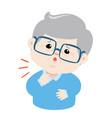 grandpa sore throat cartoon vector image vector image