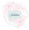 hand drawn pink peony flowers with leaves vector image vector image