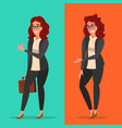 happy and unhappy businesswoman good and vector image