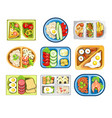 healthy food lunch on tray school snack isolated vector image