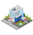 hospital building isometric view vector image vector image