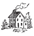 house with a chimney vintage vector image vector image