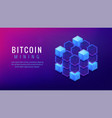 isometric bitcoin mining farm landing page concept vector image vector image