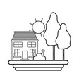 line house with trees and plant with flowers and vector image vector image