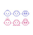 line icons of people of different ages from baby vector image