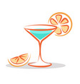 martini cocktail cartoon style isolated on white vector image