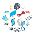 new technology icons set vector image vector image