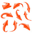 orange 3d shiny arrows set of bent icons vector image vector image