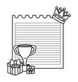 paper sheet with crown trophy and gift boxes black vector image