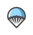 parachute air sport icon cartoon vector image vector image