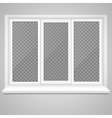 realistic closed middle open plastic window vector image vector image