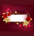 rectangular banner with red roses vector image vector image