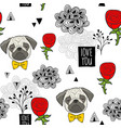 romantic seamless pattern with cute pugs and red vector image vector image