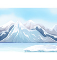 Scene with snow on big mountains and river vector image
