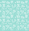 seamless pattern with white line cactus and vector image