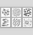 set of black sketch bacteria isolated on vector image